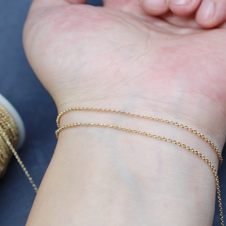 14k Gold Maintains Color Circle Scattered Chain Handmade DIY Jewelry Accessories Homemade Bracelets Necklace Material Chunky 1.2|Sprockets| |  - title=