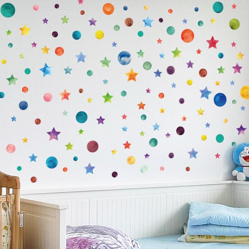 Радужные цветные наклейки на стену в горошек со звездами для детской комнаты, декоративные наклейки для дома, креативные съемные наклейки для гостиной, DIY виниловые наклейки s|Наклейки на стену|   | АлиЭкспресс
