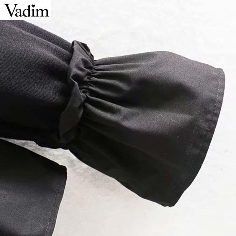 Image 5 - Vadim women chic oversized black sweatshirts long sleeve winter warm design pullovers female loose outwear casual tops HA601Hoodies & Sweatshirts   -