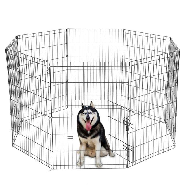 8 Panel Foldable Pet Dogs Cats Fence Small Animal Cage Indoor Portable Metal Wire Yard Fence Rabbits Kennel Crate Fence Tent 1