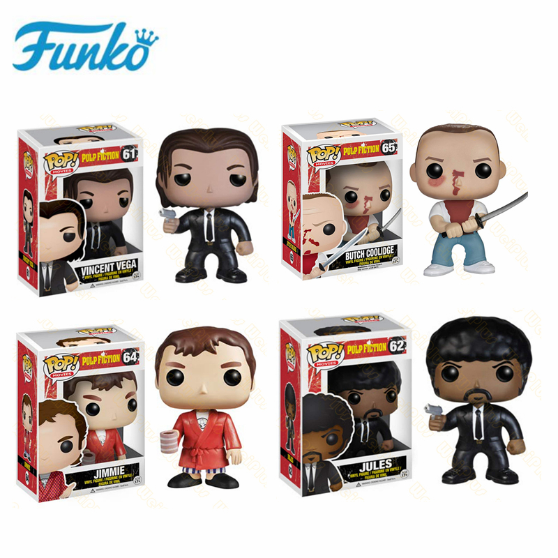 Funko POP Movie Pulp Fiction Jules Vincent Vega Butch Coolidge Jimmie Collection Model Toys for <font><b>Fans</b></font> Children Birthday Gift image