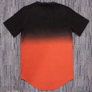 Image 3 - Zomer Katoen Zijde Siksilk T shirt Gradiënt Bedrukte T shirts Korte Mouwen Hip Hop T shirt Shirts Tops Mannen Longline Tees Met