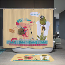 цена на Nordic modern picture polyester waterproof shower curtain high quality cartoon animal shower curtain in the bathroom