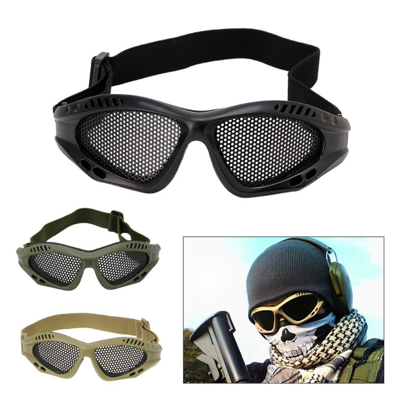 Tactical Motorcycle Airsoft Eye Protection Goggles Anti Fog Mesh Metal Glasses E65A