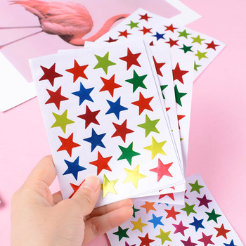 10 Sheets/Pack Of Children'S Gold-Plated Award Glitter Stickers Mother Teacher Praise Label Award Five-Pointed Star Love Sticker image