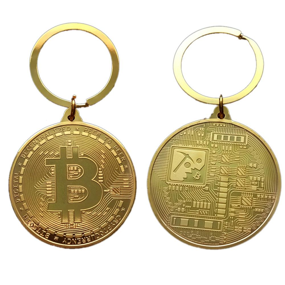 Gold Plated Bitcoin Coin Key Ring Collectible Gift Casascius Bit Coin BTC Coin Art Collection Physical Commemorative Key Chain-1