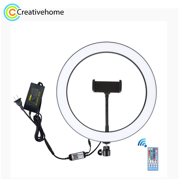 PULUZ 12 inch RGB Dimmable LED Ring Vlogging Selfie Photography Video Lights with Cold Shoe Tripod Ball Head & Phone Clamp
