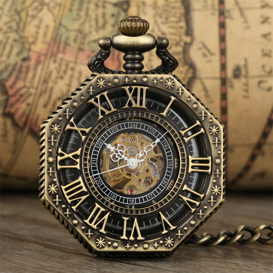 Antique Bronze/Black/Silver/Red Copper Octagon Hollow Roman Numerals Mechanical Pocket Watch Hand Winding Pendant Pocket Clock