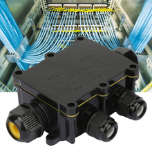 цена на Seal Ring Junction Box Electrical Enclosure Cable Connecting Terminal Block Waterproof Box Black Cable Junction Boxes Terminal