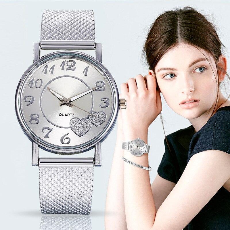 Часы наручные женские с серебристым циферблатом, с сердцем и силиконовым сетчатым ремешком, 2020