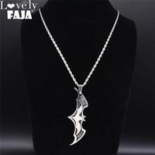2020 Bat Stainless Steel Necklace Pendants for Men Silver Color Punk Big Long Necklace Jewelry colgante hombre NZZ2S03 недорого