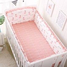 4pcs Crib Bumpers +Flat Bed Sheet Cotton Cartoon Print Child