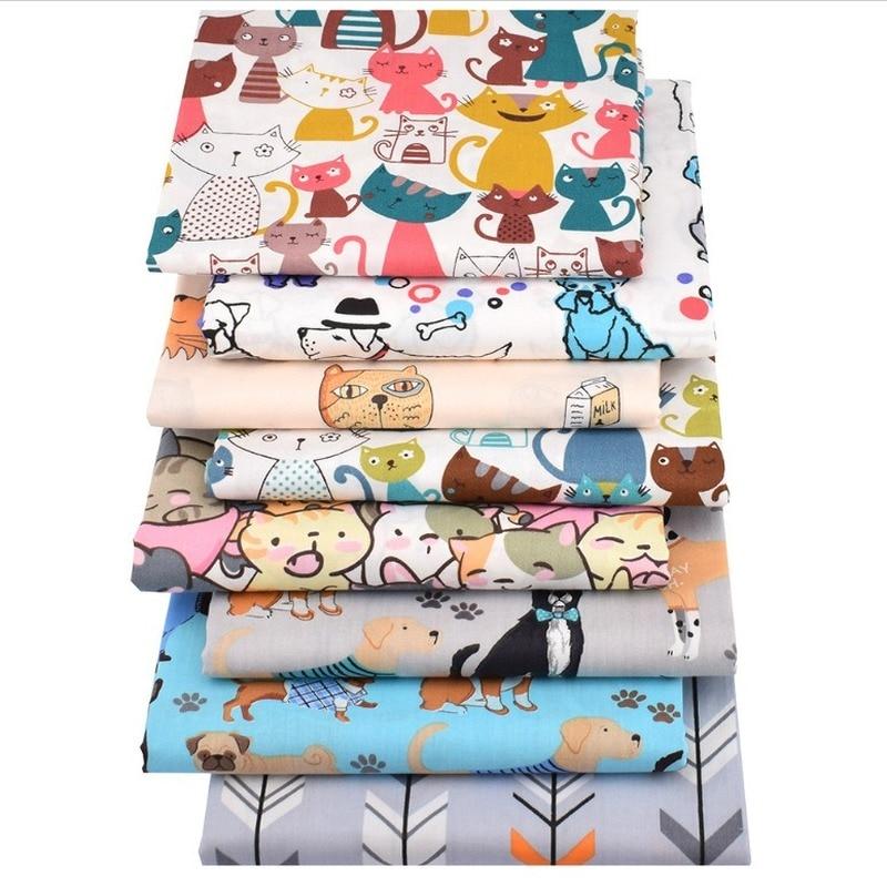 New Cartoon Twill Printed Fabric DIY Hand-stitched Cloth Group 8 Sets of Cartoon Cotton Print Fabric