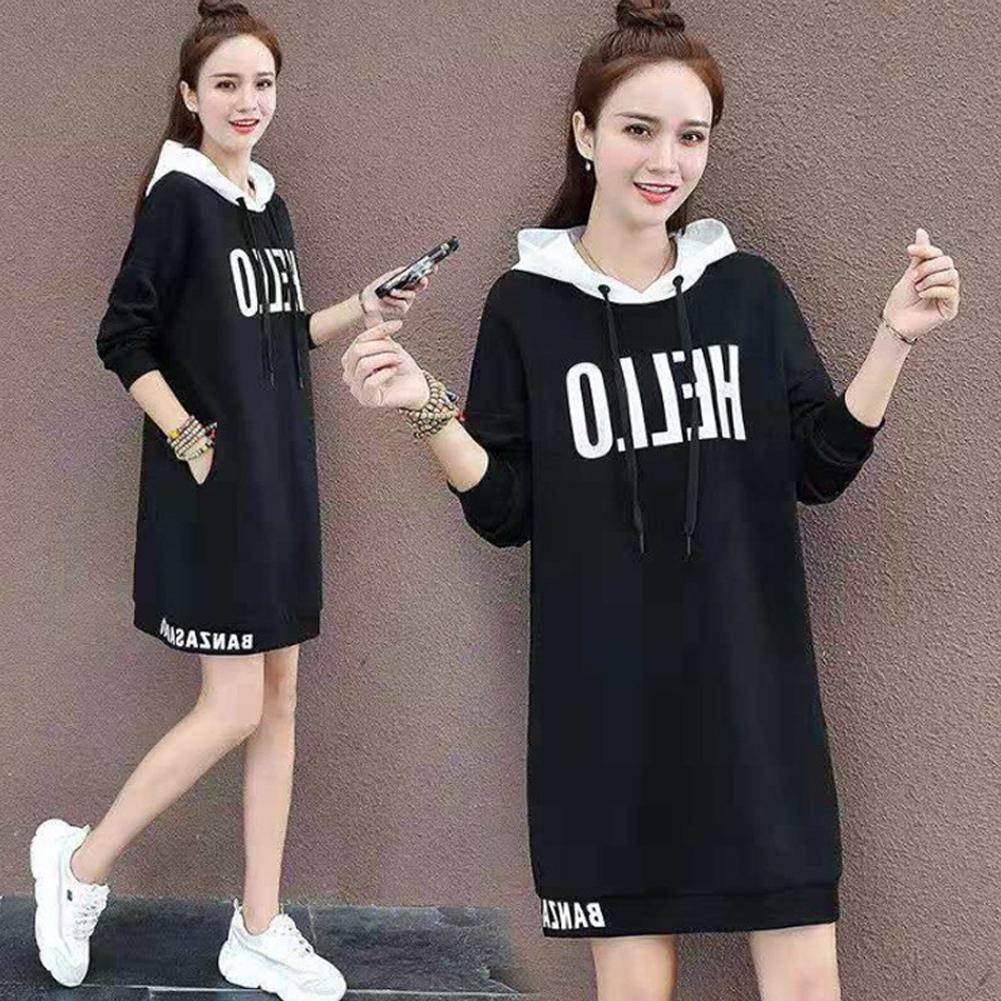Lady Thicken Middle Long Hoodie Sweatshirt Dress Printing Autumn Loose Pullover With Pockets