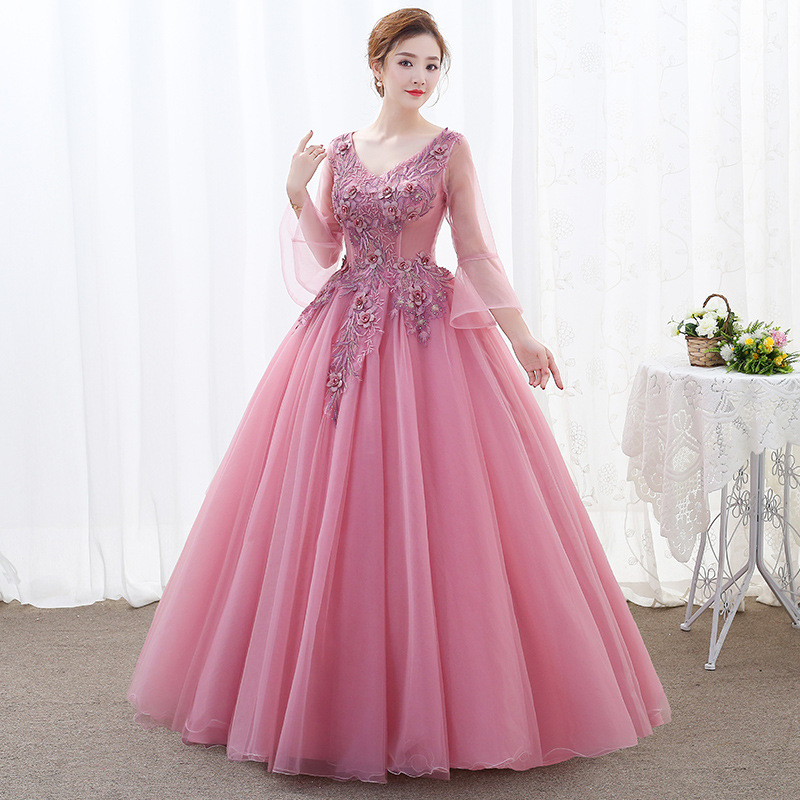 Image 2 - Lace Quinceanera Dresses Ball Gown Long Sleeve Tulle Prom  Debutante Sixteen 15 Sweet 16 Dress Quinceanera KleidQuinceanera  Dresses