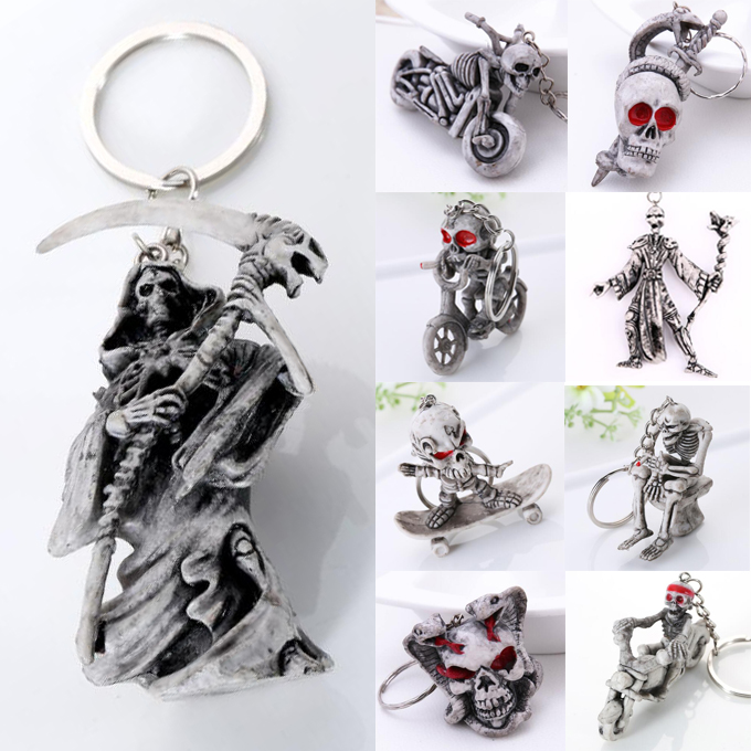 Keychain For Men Keyring Cranial Death Horror Fashion Pop Simple Gift Exaggerated Punk Funny Cute Snake Pirate Skeleton Skull