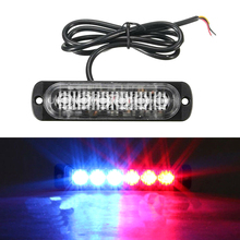 цена на Car Truck Emergency Flasher Dash Strobe Warning Light Red/Blue Ultra-thin 6 LED Day Running Flash Led Police Lights