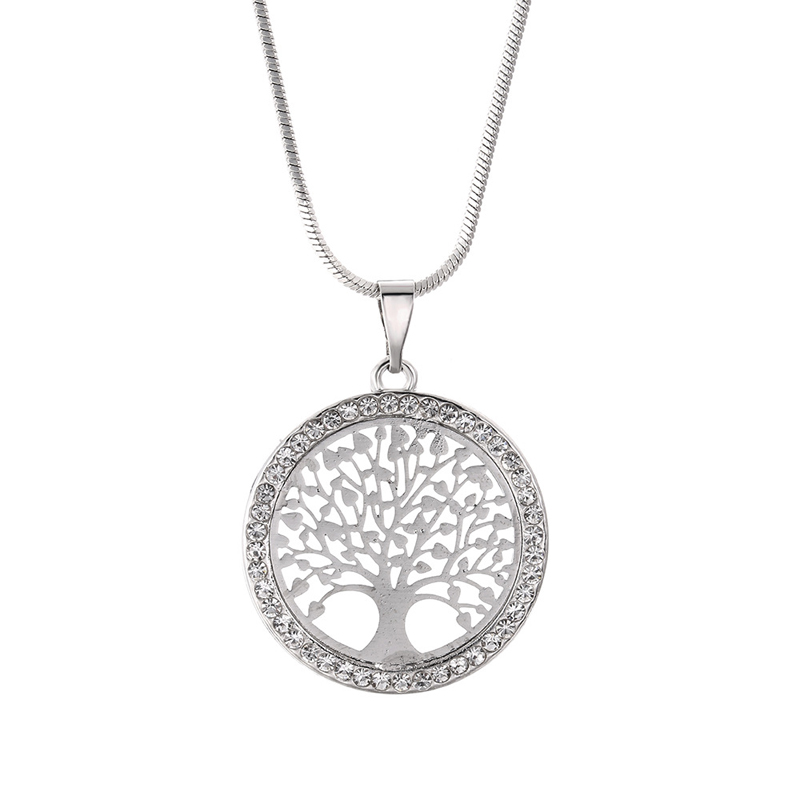 New Fashion Tree of Life Crystal Round Small Pendant Necklace Elegant Women Jewelry Gifts Dropshipping 2021