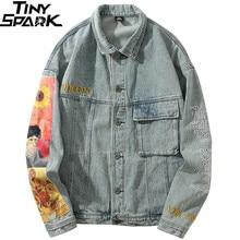 Hip Hop Men Denim Jackets Streetwear Vincent Van Gogh Embroidery Denim Jean Bomber Jacket Coat Vintage Harajuku Loose Cotton New