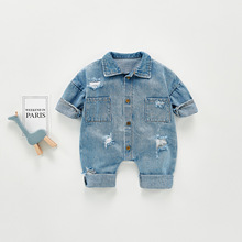 Yg Brand Spring And Autumn New Baby Fashion Style Denim Jumpsuit, Boys And Girls Lapel Long Sleeve Children's Wear