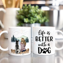 Personalized Mug Girl and Dog Coffee Mugs Cup Pet Gift DIY Custom Made Life Is Better with Dogs 11/15 Oz R2043