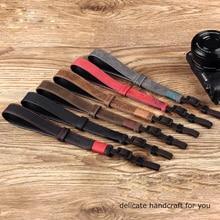 Original Handmade Double side Thicken Genuine Leather Camera Hand Strap DSLR Wristband Belt for Sony Leica Canon Fuji Nikon