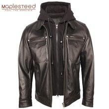 Blouson dhiver en cuir véritable homme, capuche matelassée, amovible, 100% en cuir de vache, vêtement chaud M351