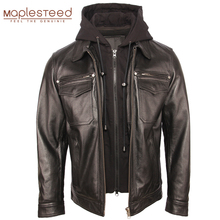 Men Genuine Leather Jacket Quilted Hood Removable 100% Cowhide Coat Genuine Leather Jackets Man Winter Coat Warm Clothing M351