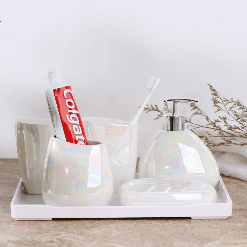 Japanese style simple aurora matte white ceramic bathroom set of five lotion bottle toothbrush holder bathroom kit image