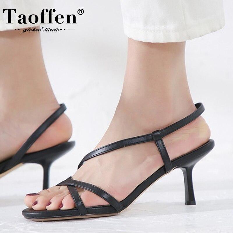 TAOFFEN taille 33-43 2020 femmes sandales talon chaussures en cuir été femmes Sexy désherbage fête chaussures femme chaussures à talons