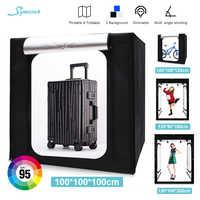 100/120/160/200cm plegable LED caja derecha foto de cámara retrato fotografía Softbox para foto estudio regulable disparar Carpas
