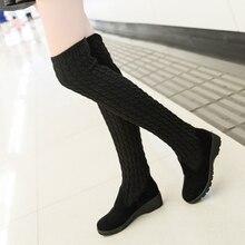 Botas altas de lana larga tejidas para mujer, zapatos de otoño e invierno, calcetines, 2020