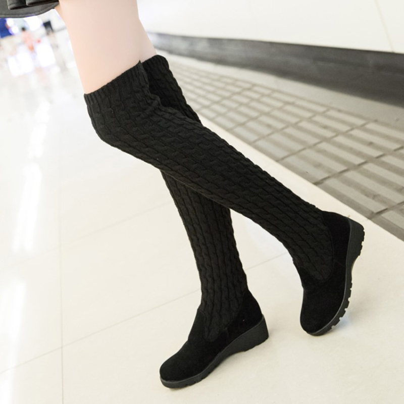 Women's Boots 2020 Autumn Winter Thigh High Boots For Woman Shoes Knitting Wool Long Boot Ladies Shoes Women Socks boots