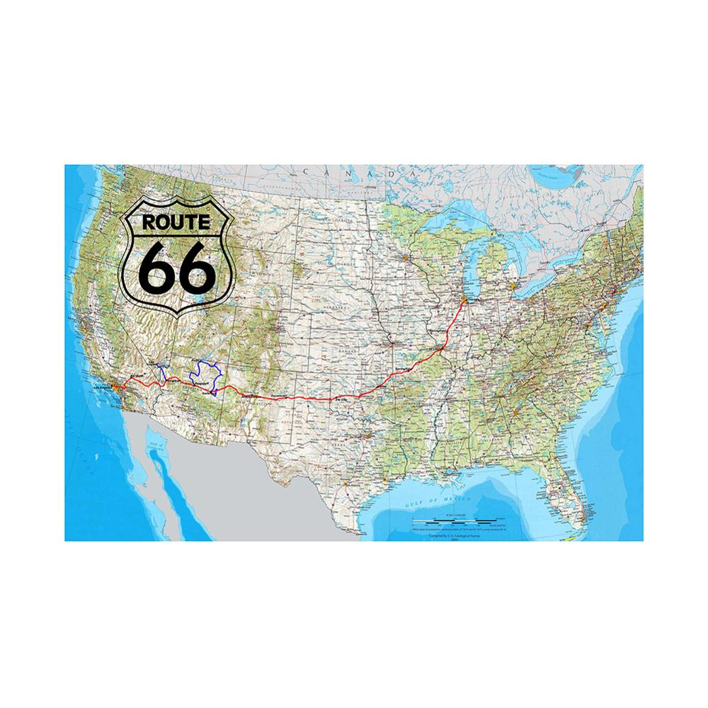 150x225cm The United States Map Home Office Poster Decor Map Of Route 66 Photo Studio Backdrops Photography Backgrounds