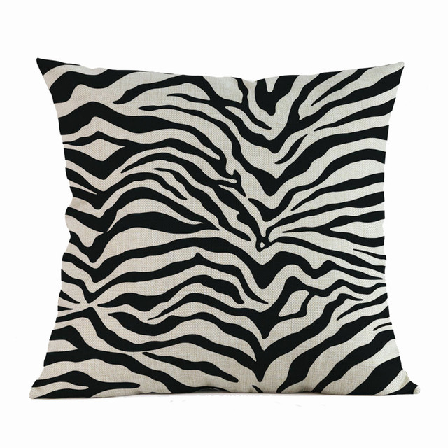 Home Decor Zebra stripe print linen Cushion Cover Happy Sunmer Time Throw Pillowcase bed sofa chair Throw Pillow Covers F1