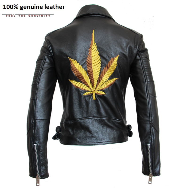 Motorcycle Jacket Women Embroidery Leather Jacket Slim 100% Cowhide Jacket Moto Woman Biker Coat Lovers' Clothes M108