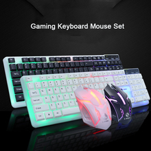 цена на Gaming Keyboard Mouse Mechanical RGB Backlit keycaps Wired Gaming Keyboard Mouse Set for LOL Pubg PC Gamer Keyboard Mouse Combos