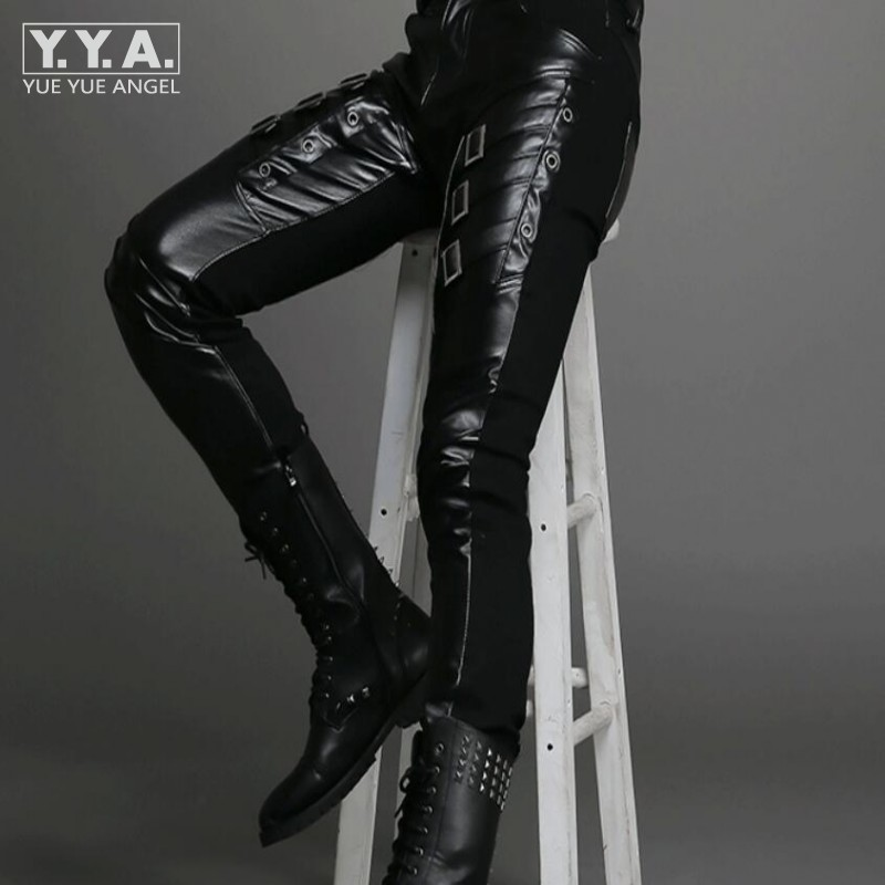 Hot Leather New Fashion Men Punk Pants Cool Buckle Design Skinny Faux Leather PU Pants For Men Black Solid Full Length Pants