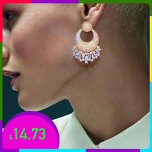 Newness 42mm Luxury Geometry Round  Full Mirco Paved Cubic Zirconia Earrings 3Tone Engagement Wedding Earring Fashion Jewelry цена
