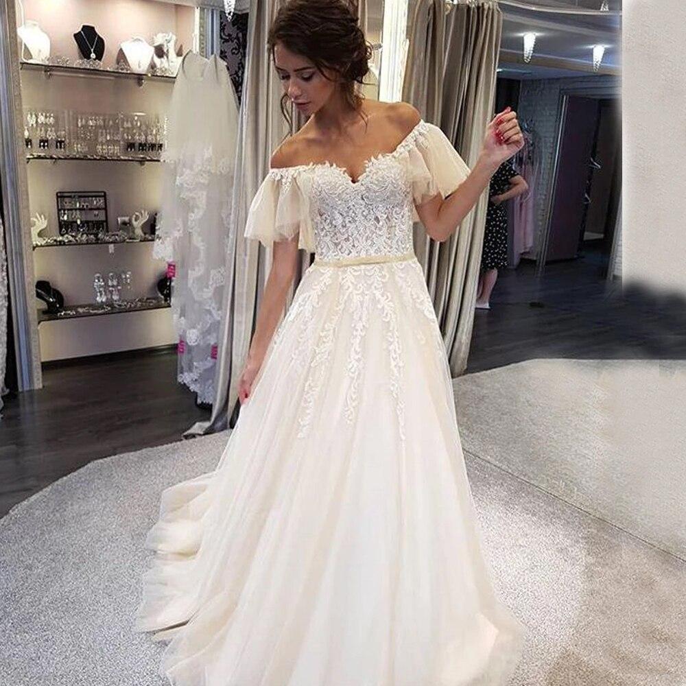Eightale Wedding Dress 2019 Scoop Appliques Lace A-Line Train Bride Dress Custom Made Plus Size Wedding Gowns Vestido Novia