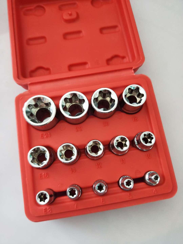 Crv material 14pcs/set E Torx Star Female Bit Socket Set 1/2