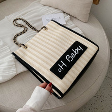 Straw Woven Women Shoulder Bag Lady Handbag Letter Oh Baby Print Knitting Top-handle Bags Female Shopping Totes Bag For Shopper country style genuine leather women small knitting designer totes bag top handle basket handbag ladies woven colorful purse bag
