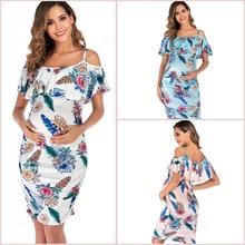 купить Fashion Maternity Dresses Mother Pregnancy Floral Print Women's Off Shoulder Ruffle Shoulderless Pregnancy Dress Pregnant по цене 657.17 рублей