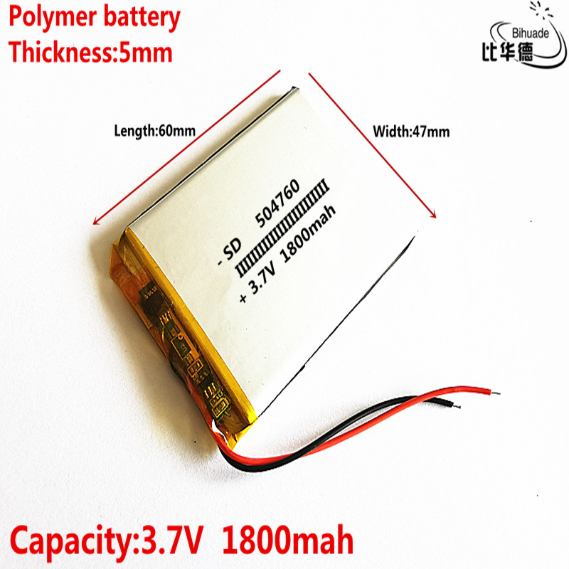 Good Qulity 10 pcs <font><b>3.7V</b></font> <font><b>1800mAh</b></font> 504760 Lithium Polymer Li-Po Rechargeable DIY <font><b>Battery</b></font> For Mp3 MP4 MP5 GPS Vedio Game toys image