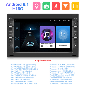 Podofo Android Car Radio 2 Din Multimedia Player GPS For VW Volkswagen Golf Polo TRANSPORTER Passat b5 b6 BORA MK5 SHARAN JETTA image