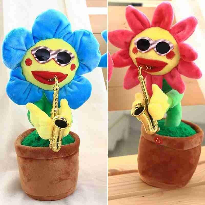 Creative Electric Sun Flower Toys Enchanting Singing Dancing Saxophone Simulation Sunflower Plush Toys Kids Gifts