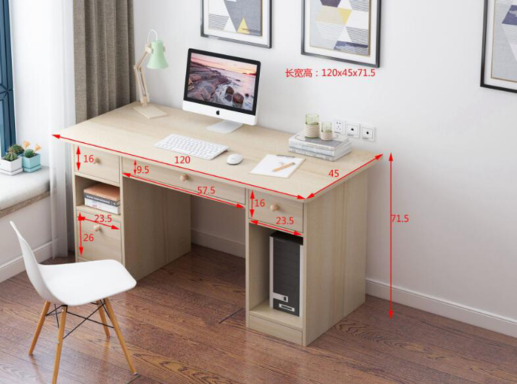 Купить с кэшбэком Home office computer desk with keyboard tray drawer storage large table student writing table work furniture 120X45X72cm
