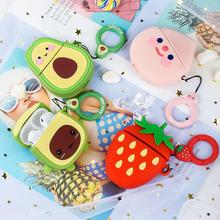 3D Cute Avocado Fruit Cartoon Soft Silicone Doll Headphone Cases For