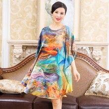 Oversized Summer 100% Silk Women Printing Sleepwear Loose Leisure Bat sleeve Nightgowns Printing Big Size Nightdress