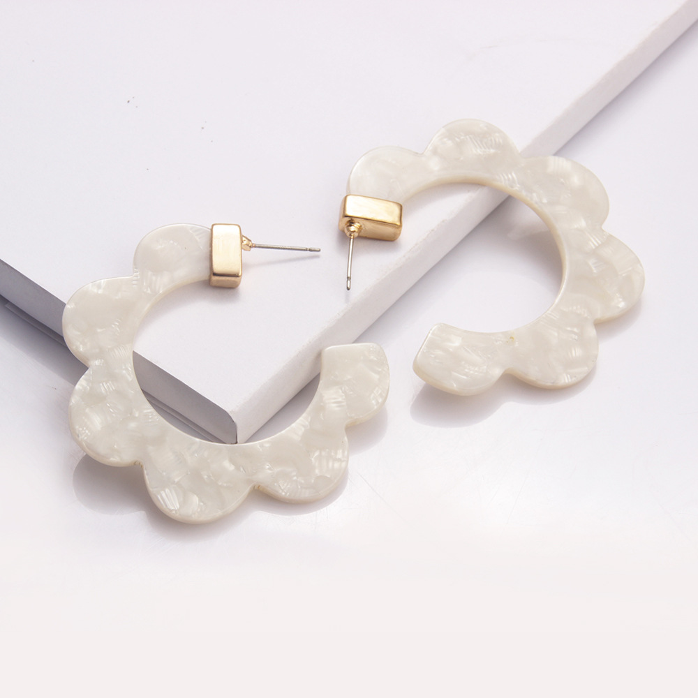 2020 Big Tortoiseshell Acrylic Bohemian Earrings for Women Acetate Geometry Hoop Fashion Za Statement Earring Wedding Jewelry